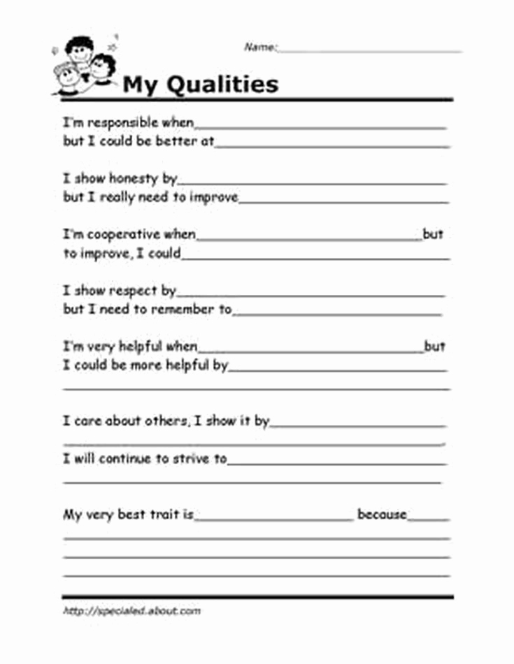 Self Esteem Worksheets for Girls Elegant Self Esteem Worksheets for Teens In 2020