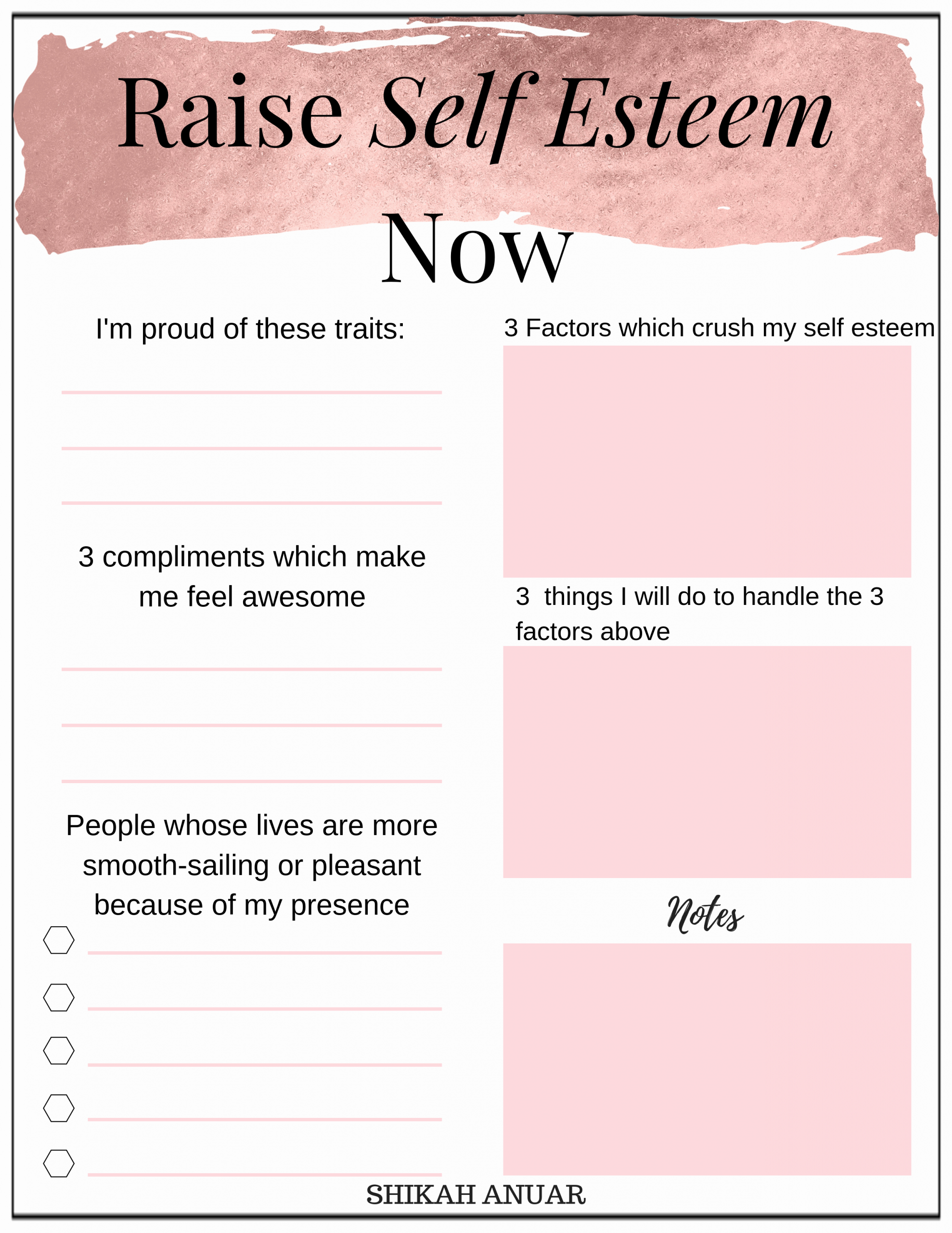 Self Esteem Worksheets for Girls New Free Printable Raise Your Self Esteem now