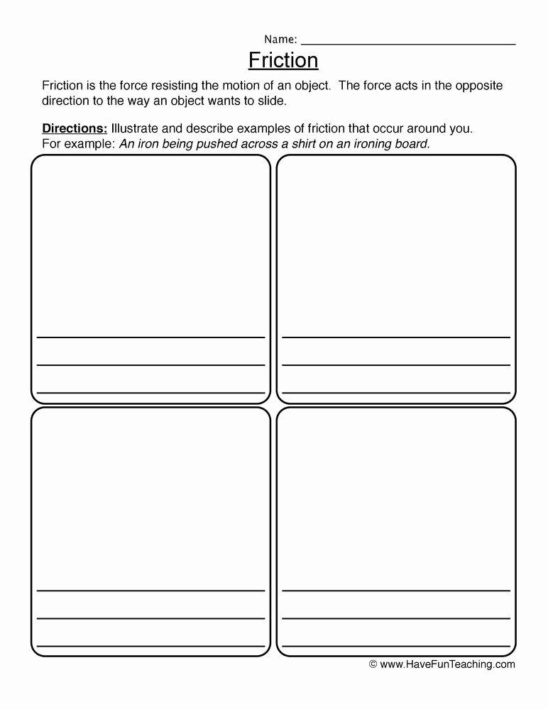Sensory Detail Worksheet Beautiful force and Motion Kindergarten Worksheets Friction