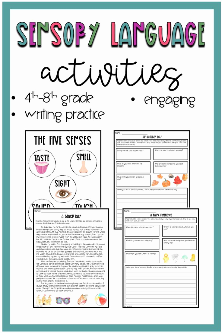 Sensory Detail Worksheet Best Of Sensory Language Activities Sensory Details Printable