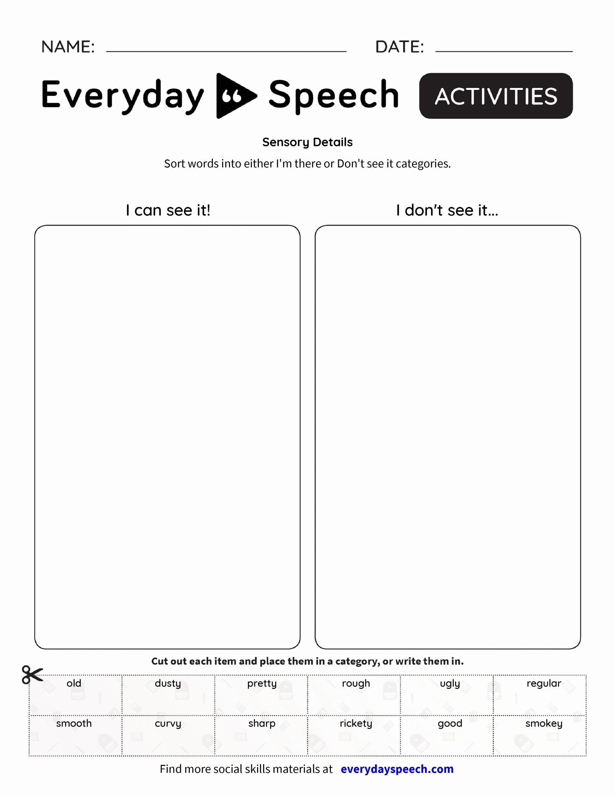 Sensory Detail Worksheet Fresh Sensory Details Everyday Speech Everyday Speech