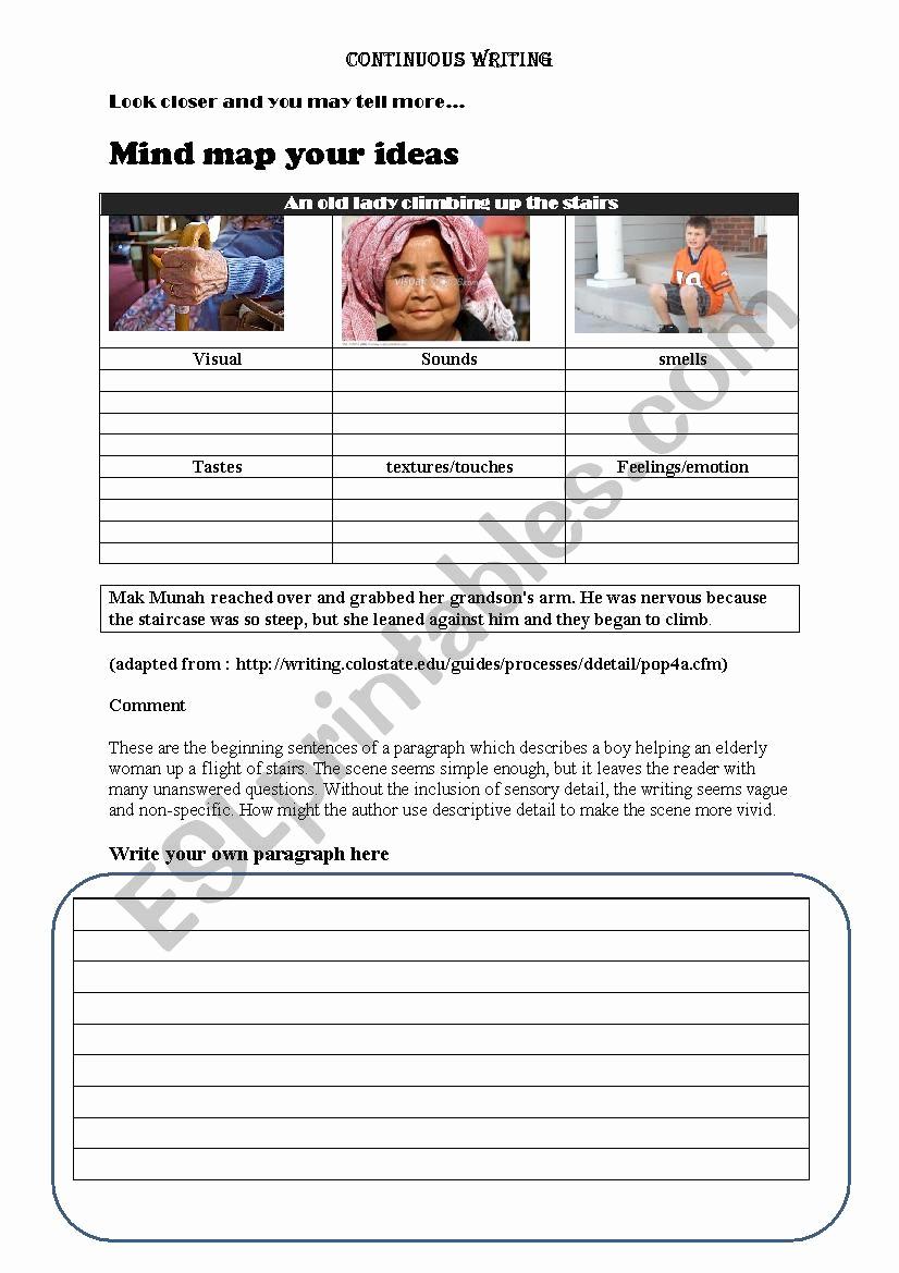 Sensory Detail Worksheet Lovely Sensory Details Esl Worksheet by Azizi