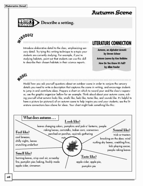 Sensory Detail Worksheet Luxury Autumn Scene Creating Sensory Lesson Plan for 6th
