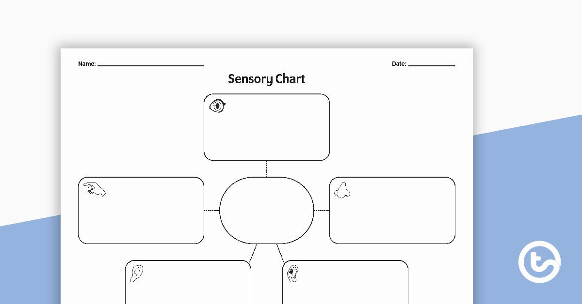 Sensory Detail Worksheet Luxury Sensory Chart Graphic organiser Teaching Resource