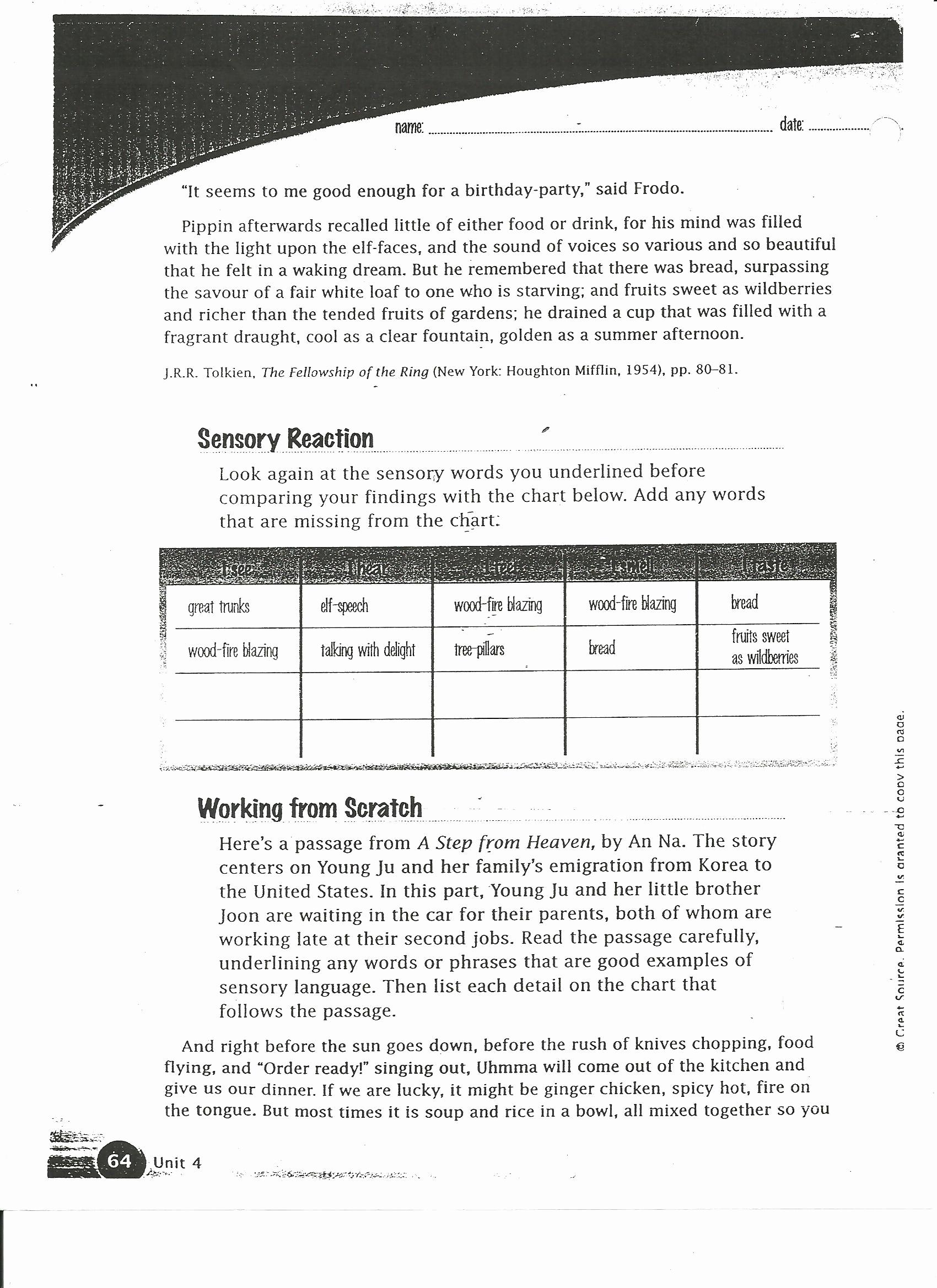 Sensory Detail Worksheet New Sensory Detail Worksheet