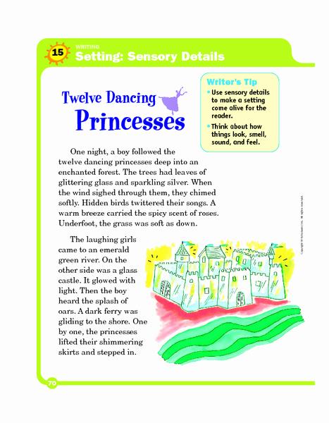 Sensory Detail Worksheet New Setting Sensory Details Twelve Dancing Princesses