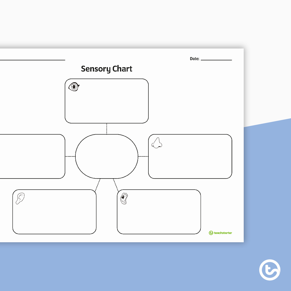 Sensory Detail Worksheet Unique Sensory Chart Graphic organiser Teaching Resource