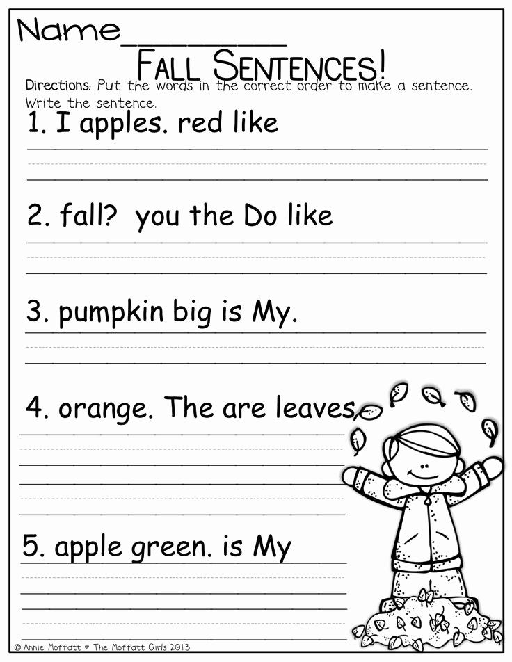 Sentence Worksheets for First Grade Awesome 8 Best Of Kindergarten Sentence Worksheets