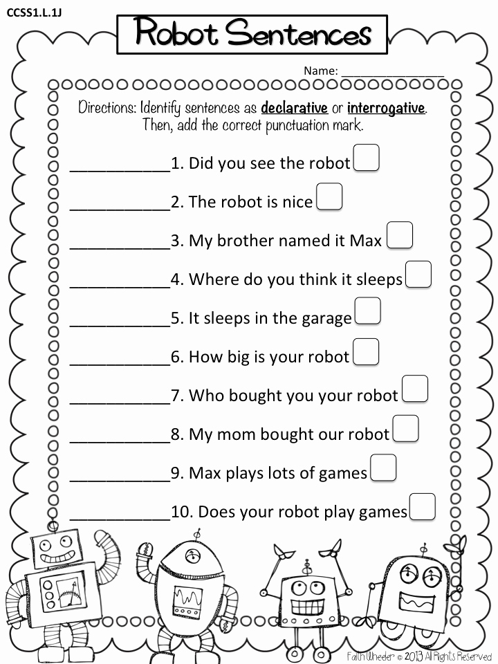 Sentence Worksheets for First Grade Beautiful 11 Best Of Four Types Sentences Worksheets