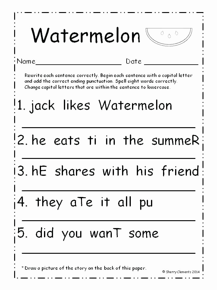 Sentence Worksheets for First Grade Beautiful Sentence Worksheets for First Grade Sentence Writing