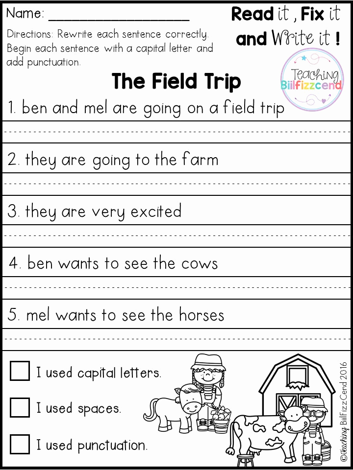 Sentence Worksheets for First Grade Fresh Free Fix It Up Sentences