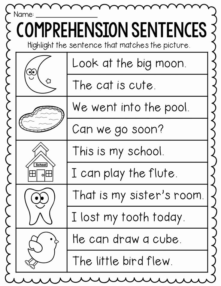 Sentence Worksheets for First Grade Lovely Prehension Sentences for Kindergarten and First Grade