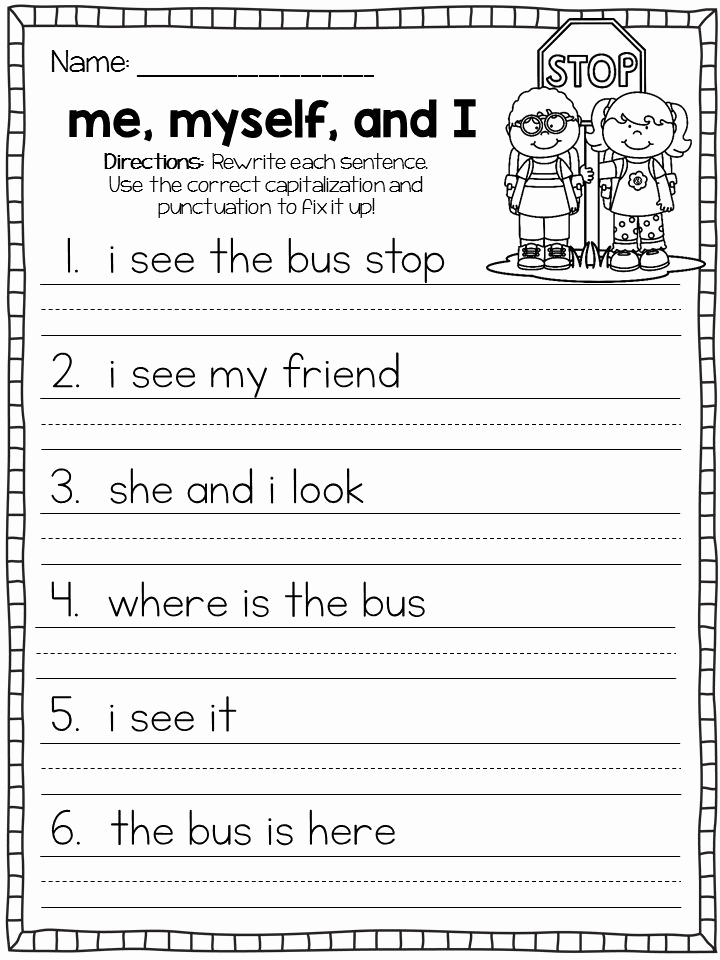 Sentence Worksheets for First Grade New October Fix It Up Sentences Capitals End Punctuation and