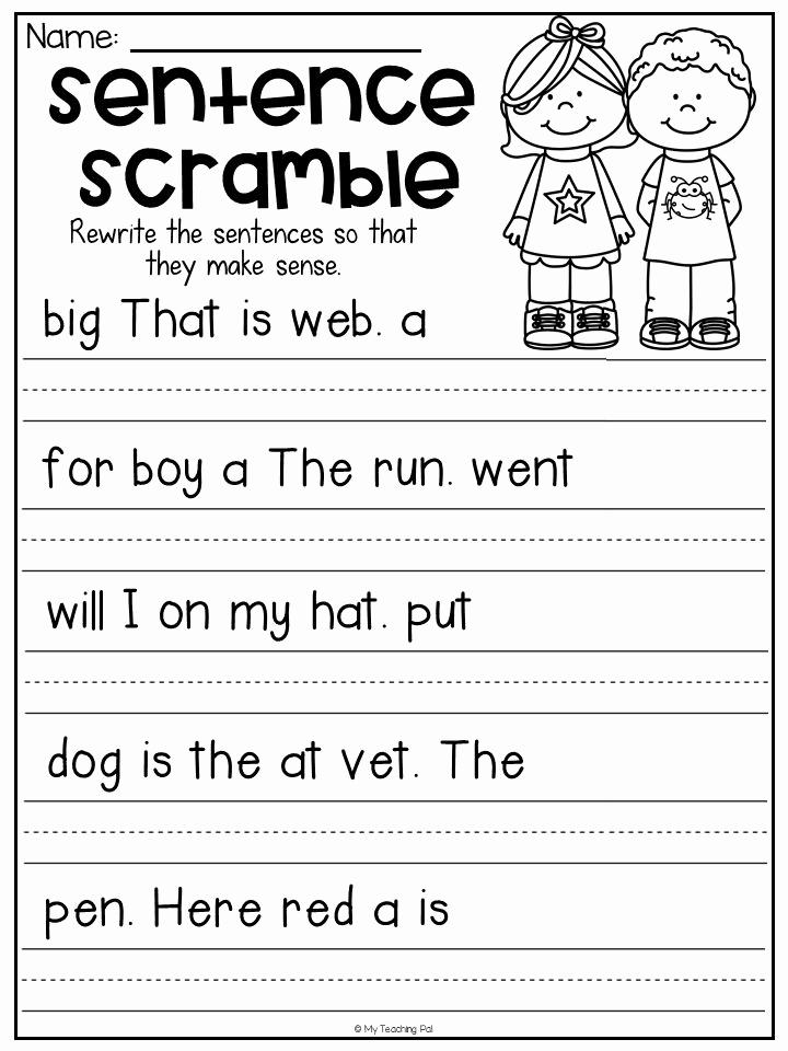Sentence Worksheets for First Grade Unique Sentence Scramble Worksheets Kindergarten Literacy