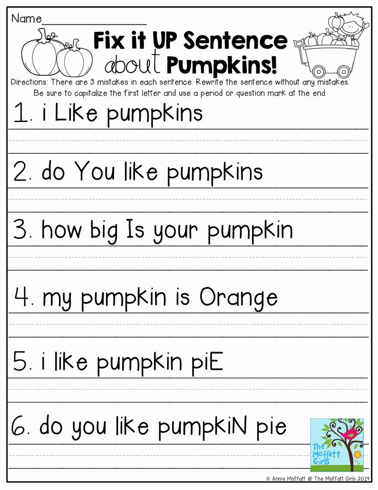 Sentence Worksheets for First Grade Unique Writing Sentences Worksheets for 1st Grade Pdf