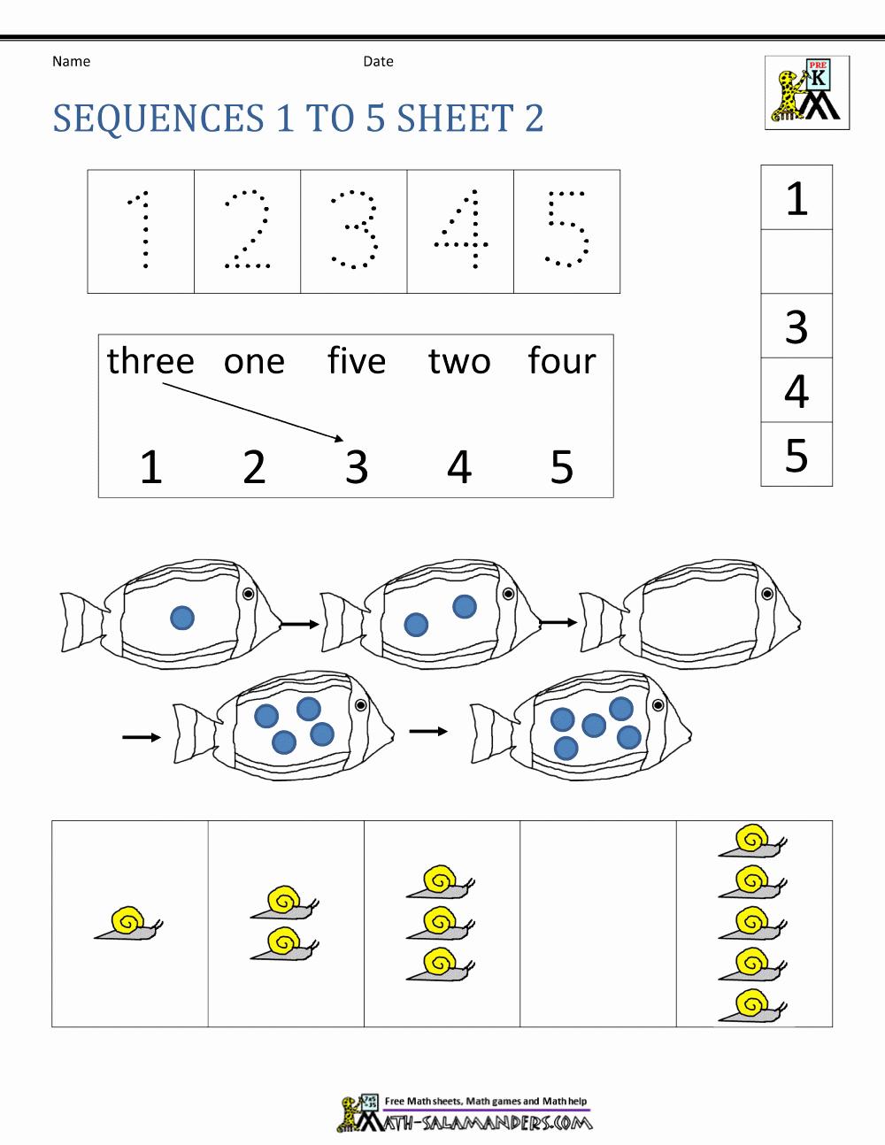 Sequence Worksheets for Kindergarten Fresh Sequencing Numbers Worksheets Kindergarten
