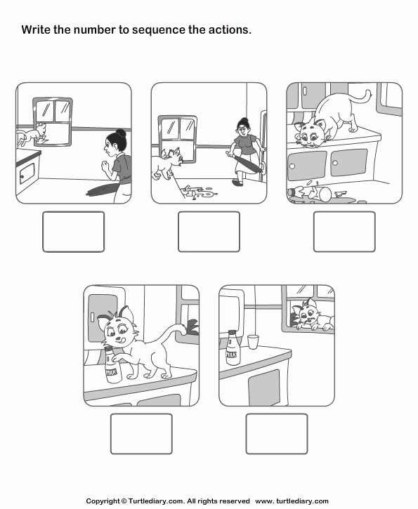 Sequencing Pictures Worksheets Inspirational Picture Sequencing Cat In the House Worksheet Turtle Diary