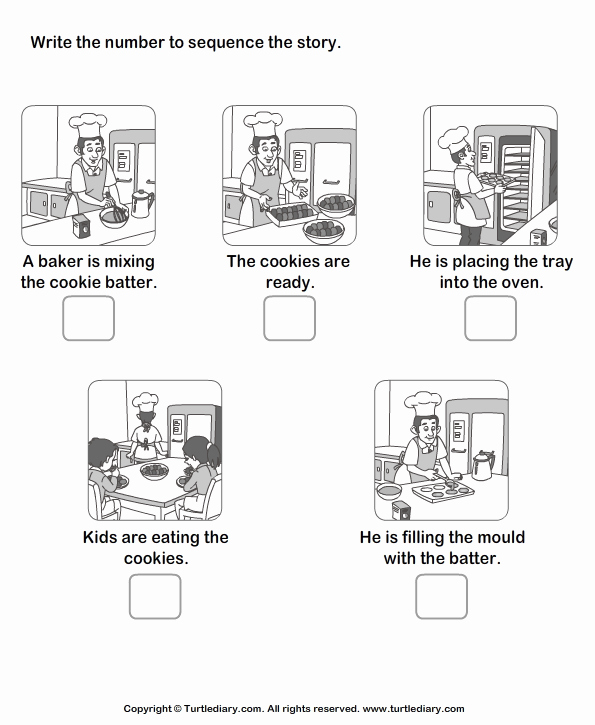 Sequencing Pictures Worksheets Inspirational Story Sequencing Baker and Cookie Worksheet Turtle Diary