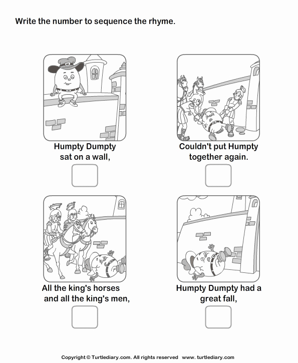 Sequencing Story Worksheets Beautiful Story Sequencing Humpty Dumpty Worksheet Turtle Diary