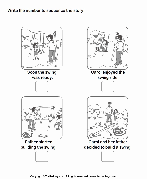 Sequencing Story Worksheets Lovely Story Sequencing Carol and Swing Worksheet Turtle Diary