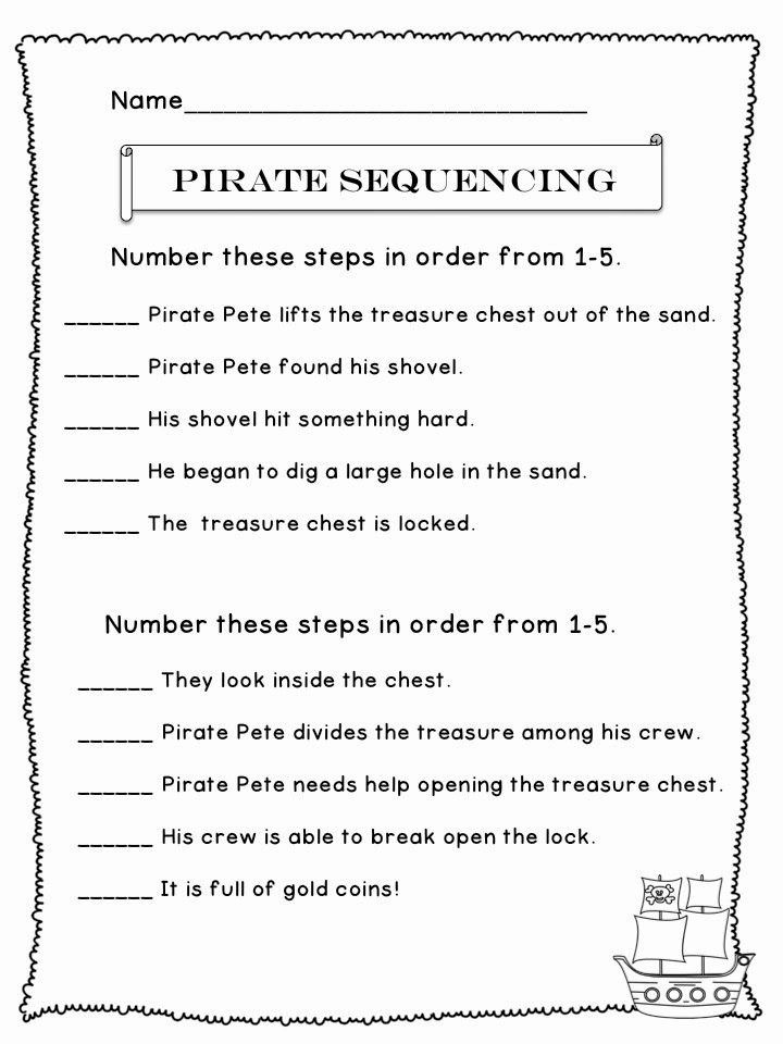 """Sequencing Worksheets 5th Grade Beautiful the Best Of Teacher Entrepreneurs Language Arts """"pirate"""