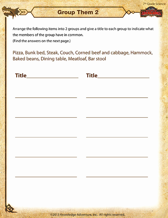 Seventh Grade Science Worksheets Fresh Group them 2 View – 7th Grade Science Worksheets Line