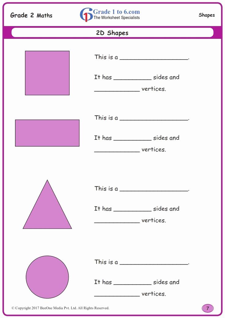 Shapes Worksheets 2nd Grade Elegant Worksheet Grade 2 Mate 2d Shapes In 2020