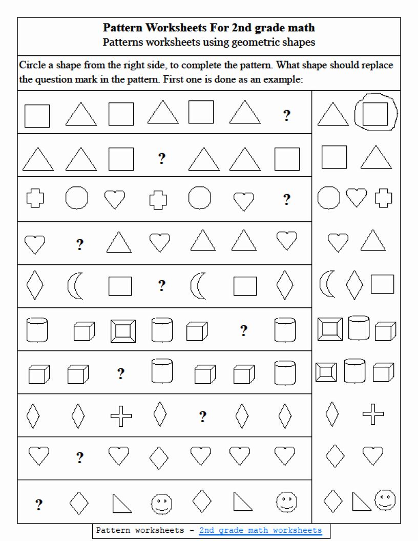 Shapes Worksheets 2nd Grade Inspirational Number Patterns Worksheets 2nd Grade