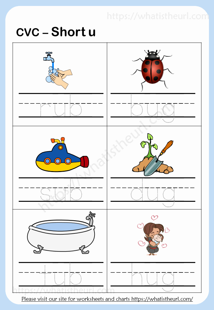 "Short U Worksheets Pdf Awesome Tracing Cvc Words Short ""u"" Your Home Teacher"