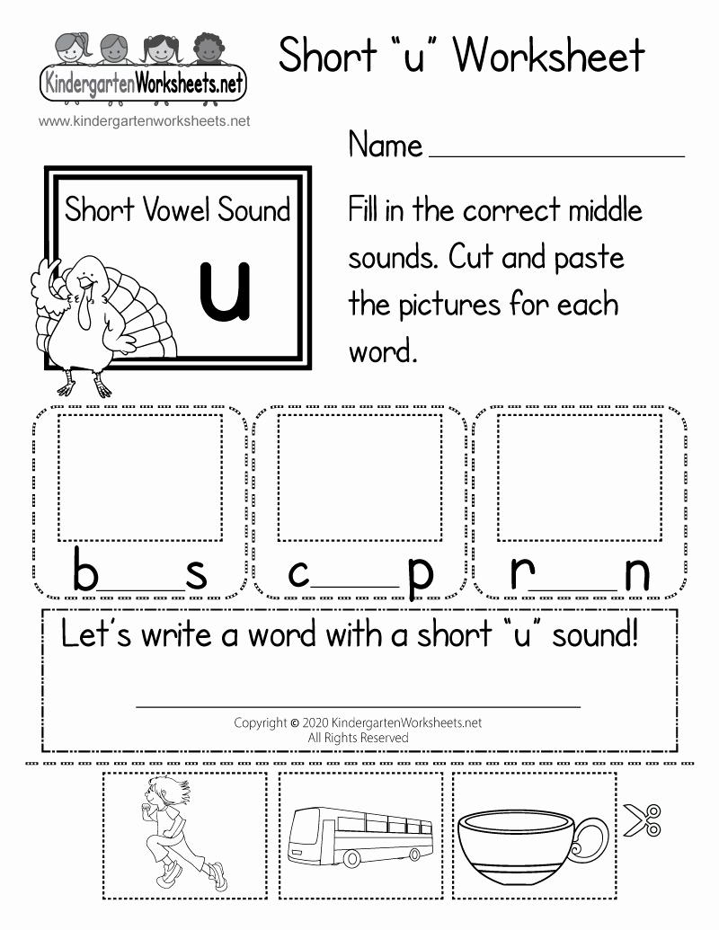 Short U Worksheets Pdf Beautiful Short U Worksheet for Kindergarten Learning Words with