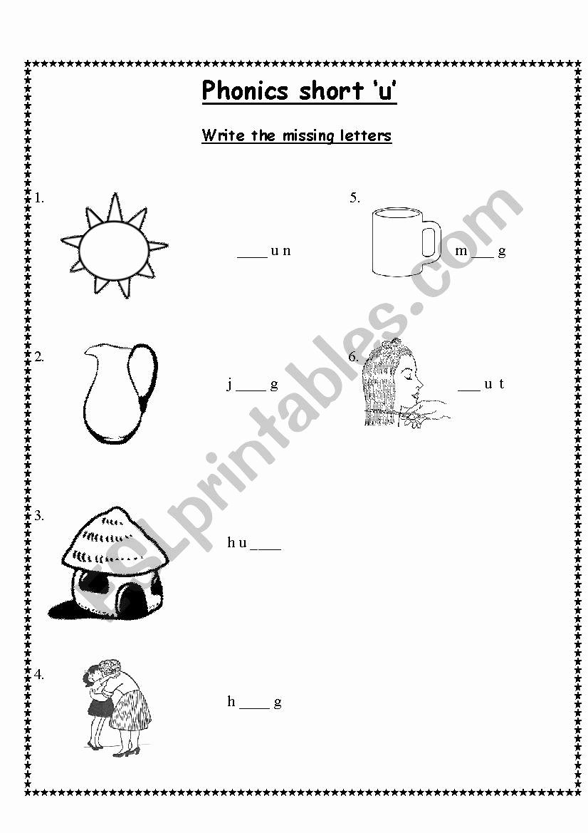 Short U Worksheets Pdf Unique Phonics Short 'u' Esl Worksheet by Shaniyasidd Gmail