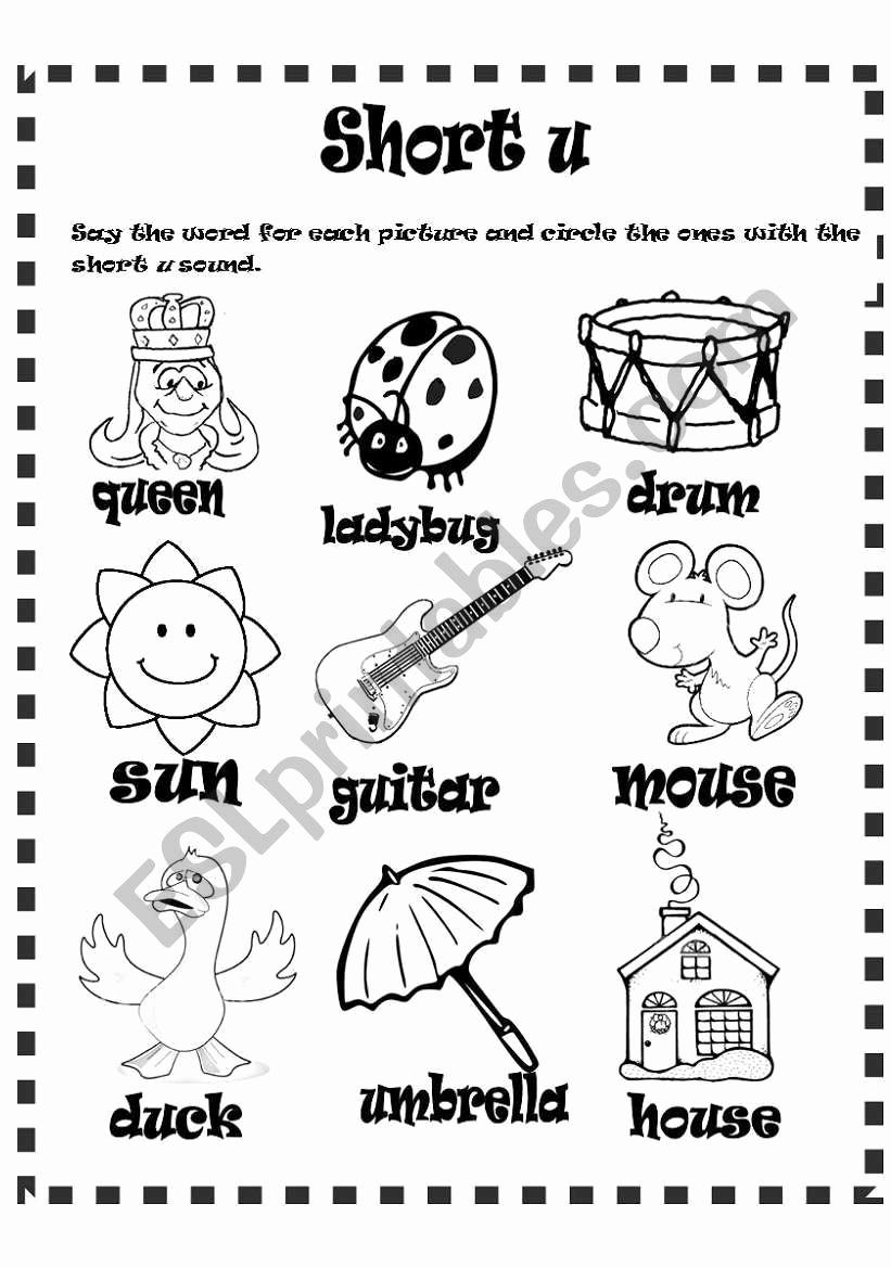 Short U Worksheets Pdf Unique Short U sound Esl Worksheet by Lizsantiago