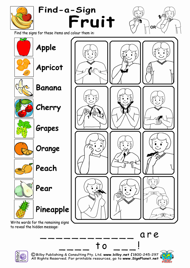 Sign Language Printable Worksheets Awesome 6 Best Of Printable Sign Language Words and Phrases