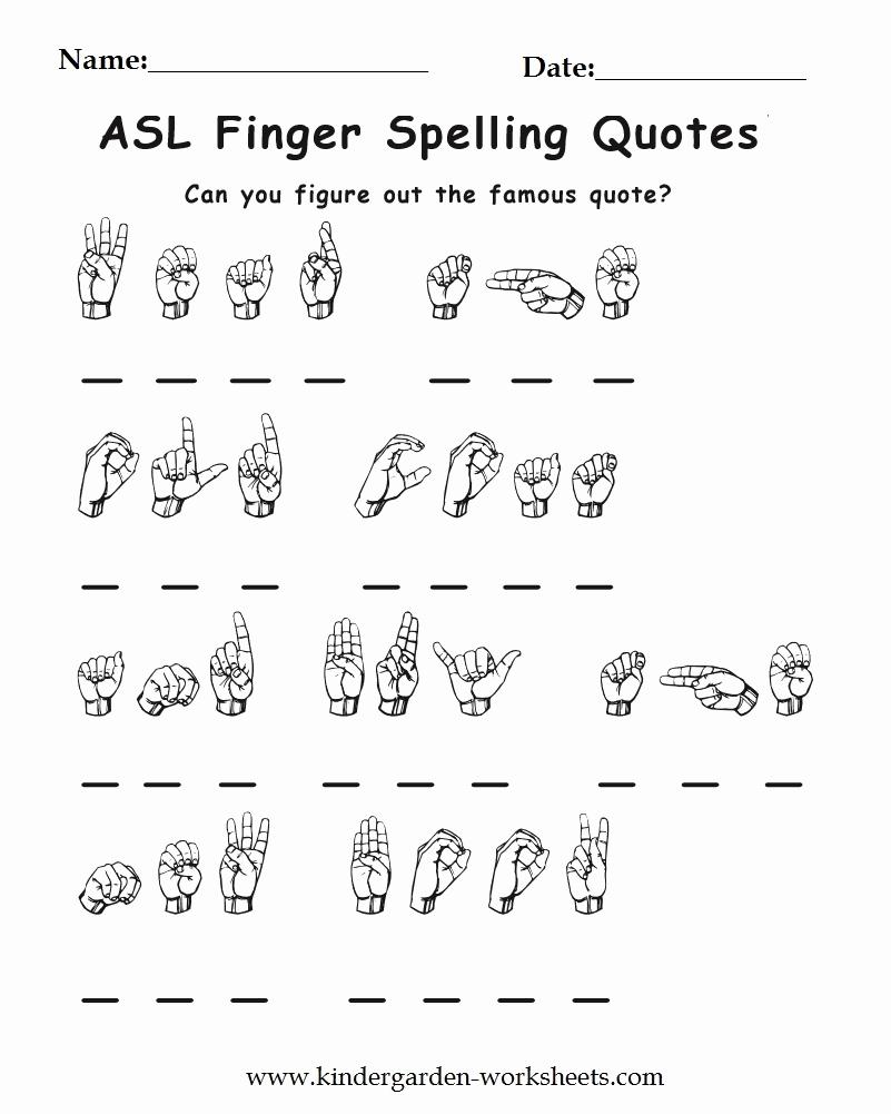 Sign Language Printable Worksheets Elegant Kindergarten Worksheets Worksheets Sign Language