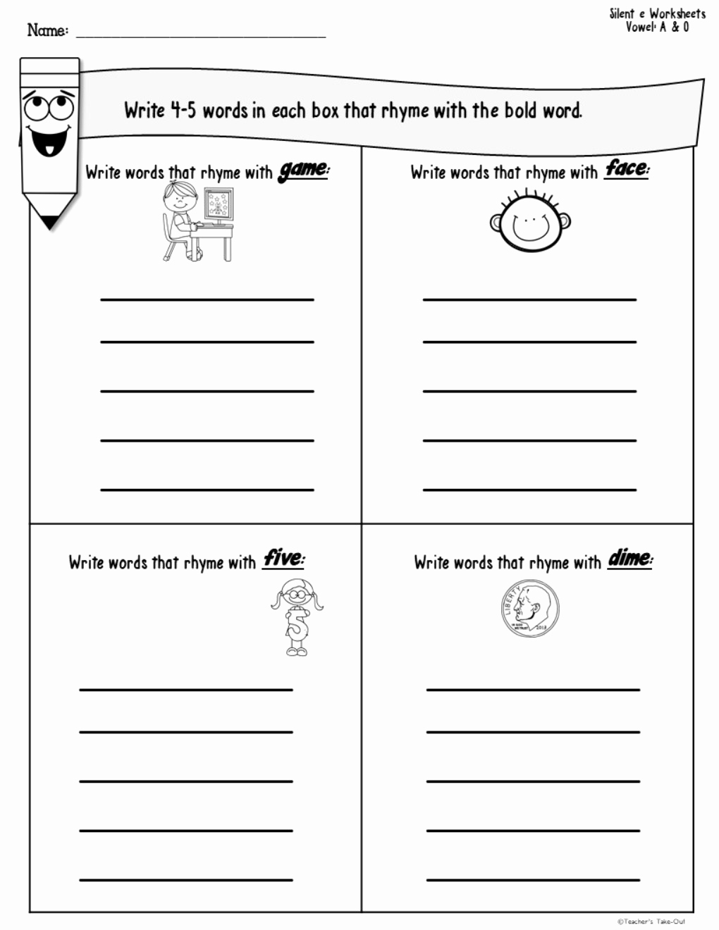 Silent E Words Worksheets Luxury Silent E Worksheets Teacher S Take Out