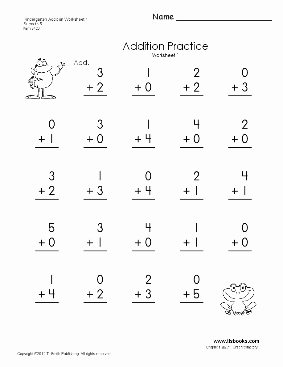 Simple Addition Worksheets for Kindergarten Elegant Kindergarten Addition Worksheets 1 Through 6
