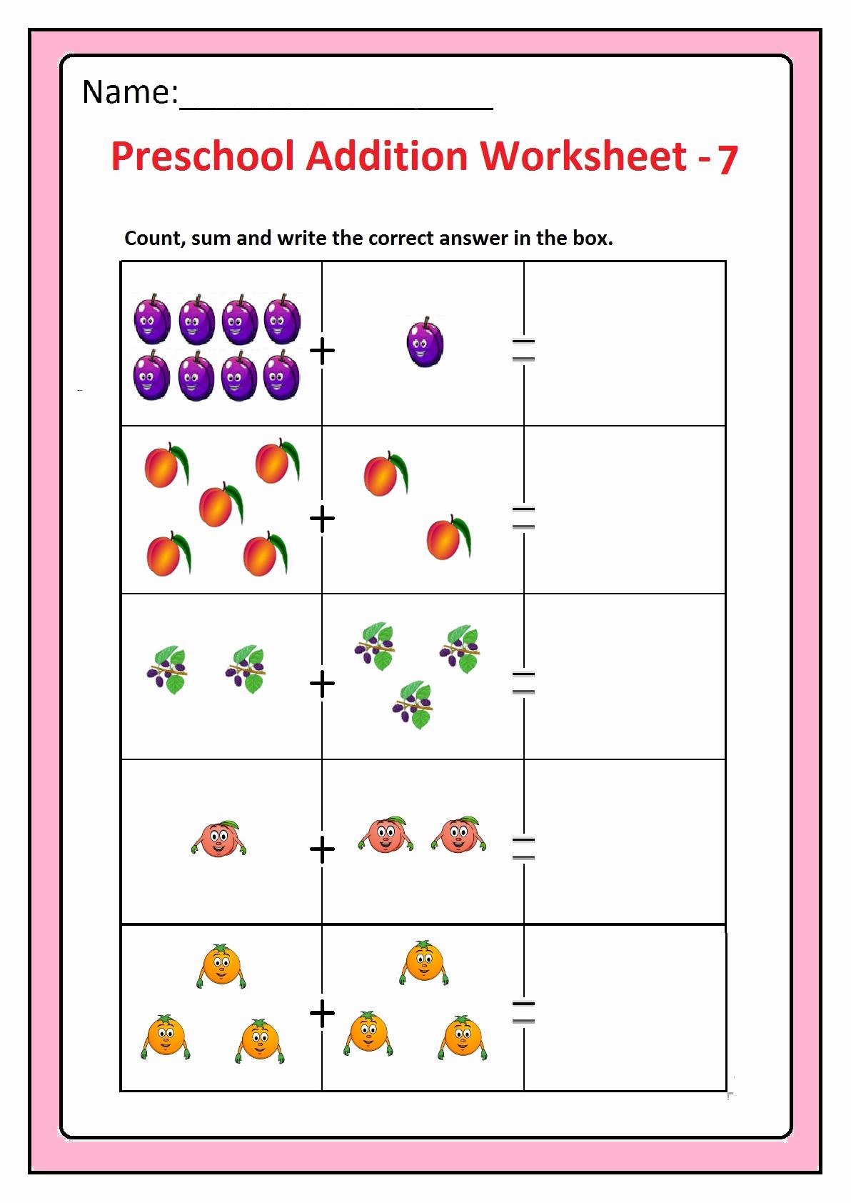 Simple Addition Worksheets for Kindergarten Elegant Preschool Basic Addition Worksheets Free Printable