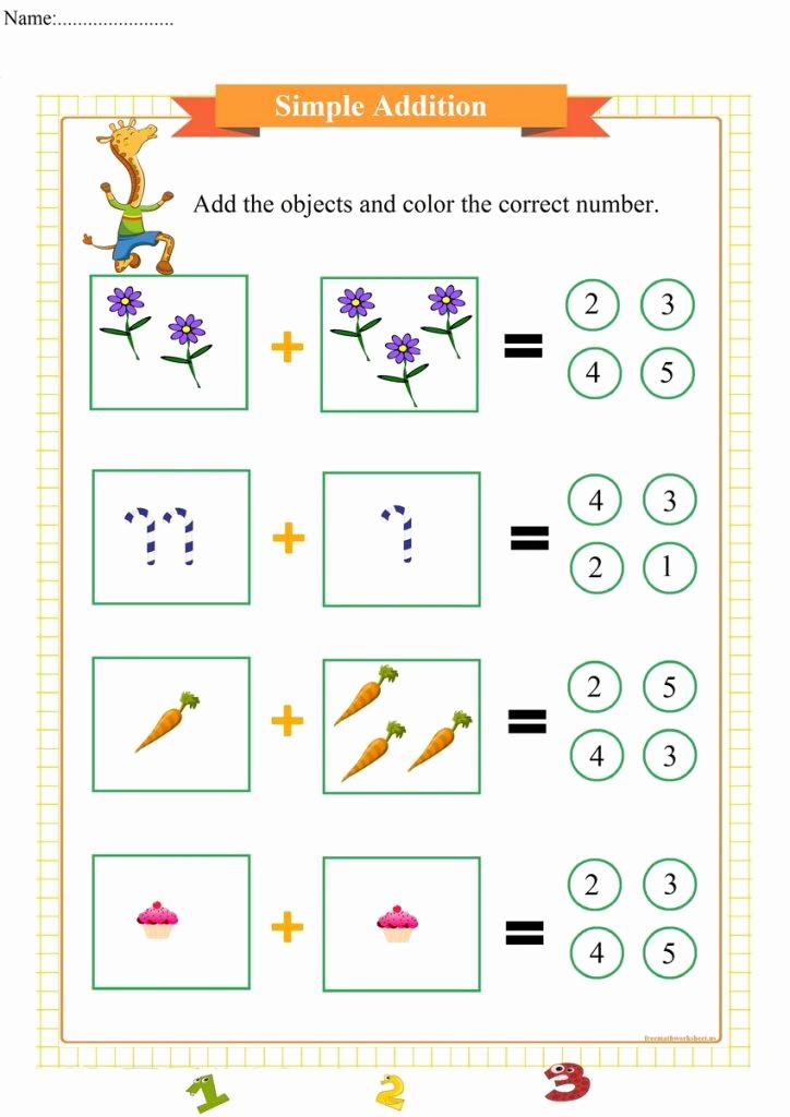 Simple Addition Worksheets for Kindergarten Fresh Dancing Giraffe Simple Addition Pdf Free Math Worksheets