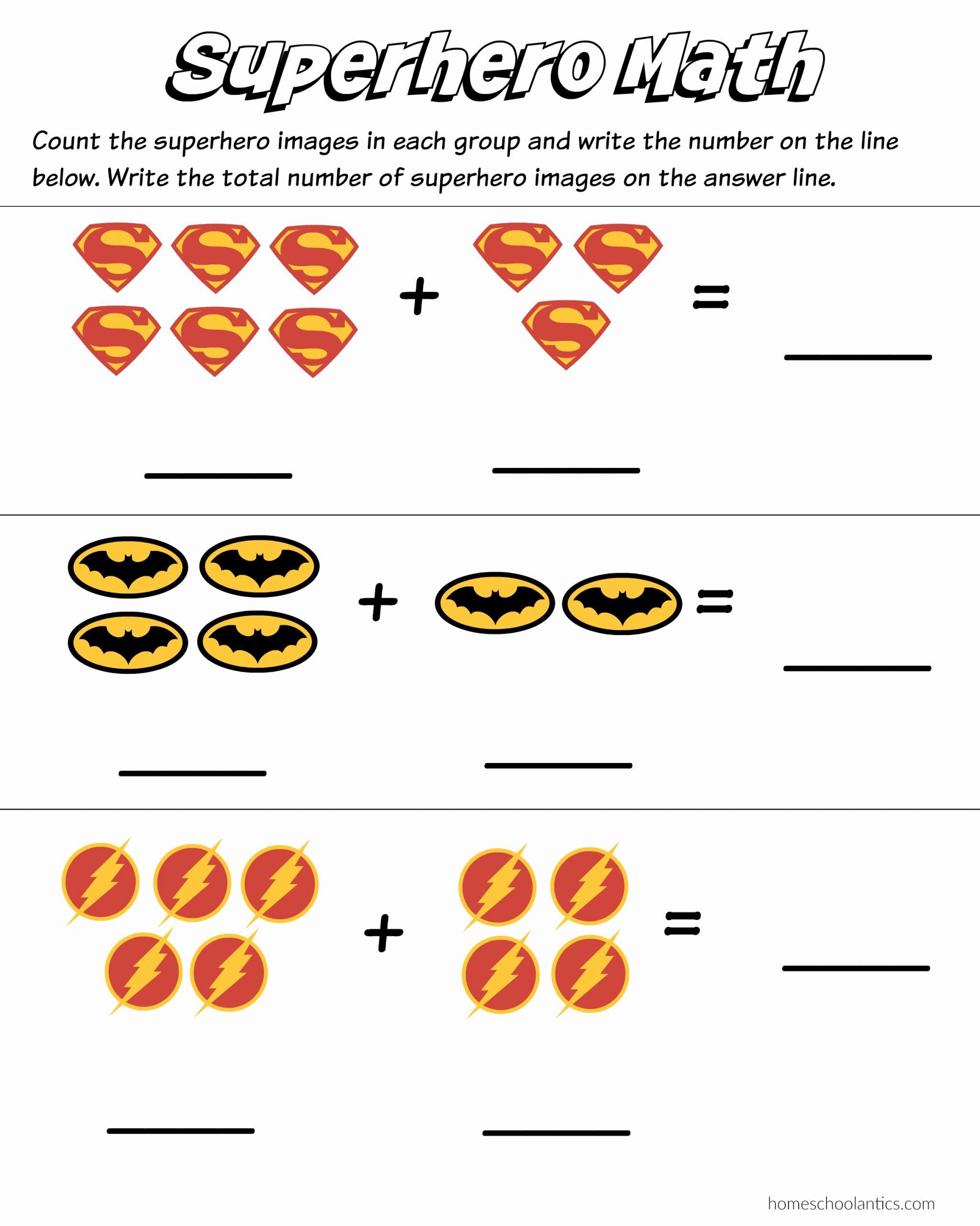 Simple Addition Worksheets for Kindergarten Fresh Superhero Math Kindergarten Addition Worksheet Printables