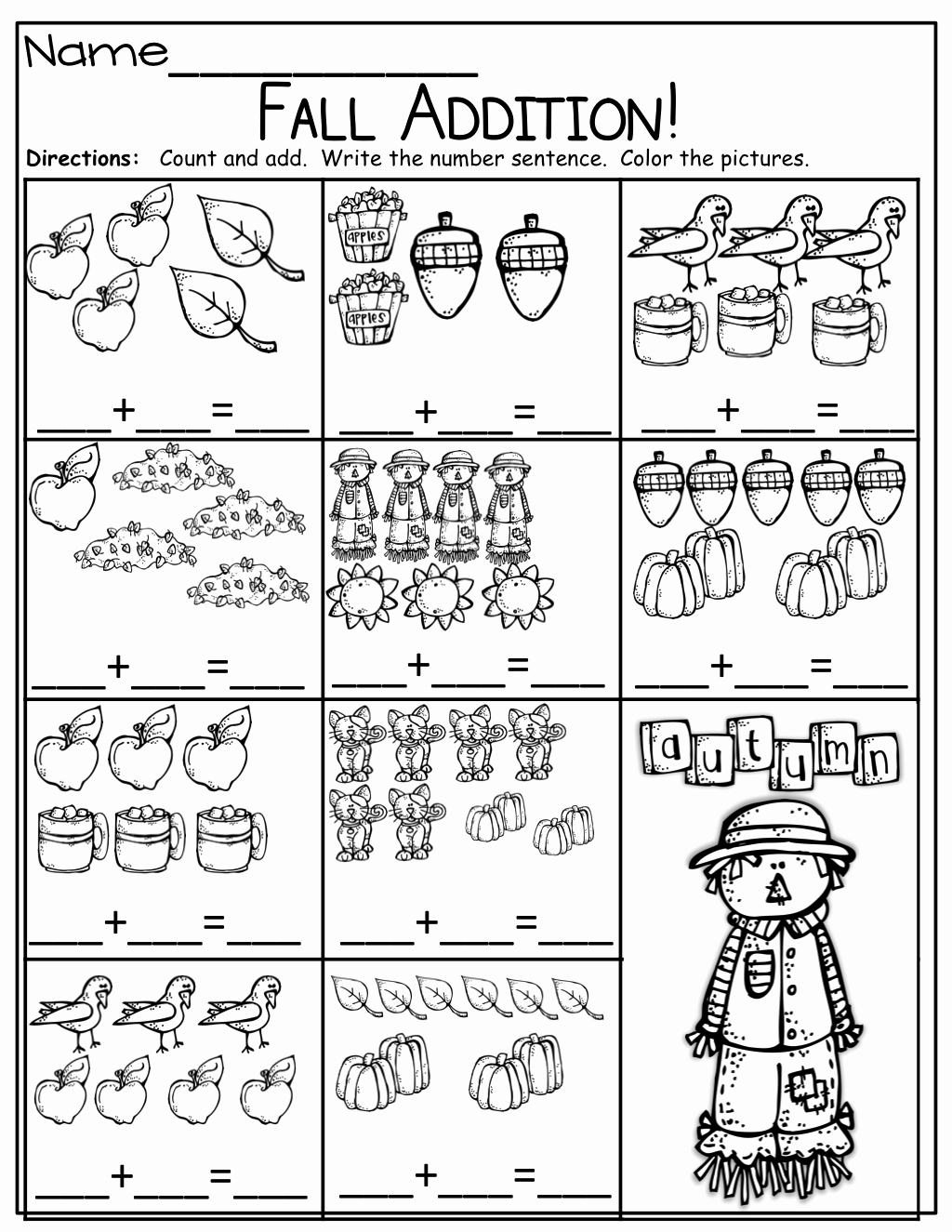 Simple Addition Worksheets for Kindergarten Lovely Simple Addition Sentences for Fall