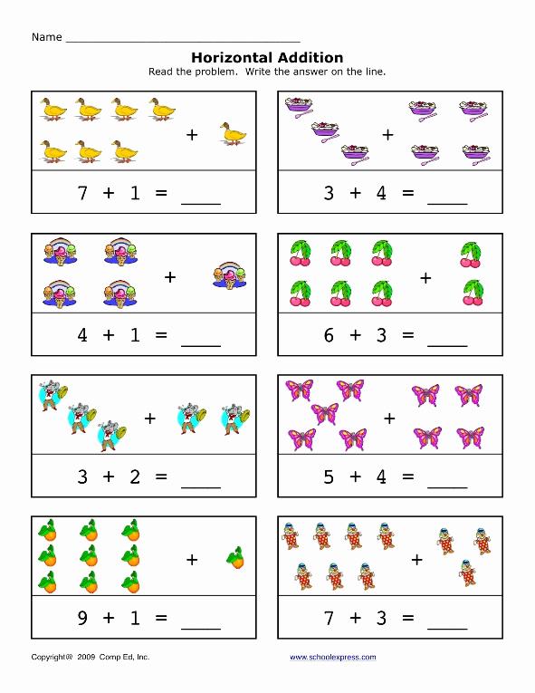 Simple Addition Worksheets for Kindergarten Unique Preschool Horizontal Addition Worksheet Preschool Crafts