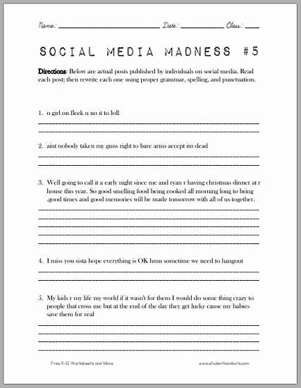 Social Media Madness Worksheet Beautiful social Media Madness Worksheet 5 Another Fun Worksheet
