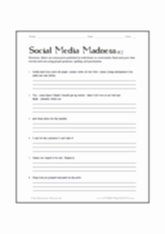 Social Media Madness Worksheet Fresh social Media Madness Grammar Spelling Worksheet 2