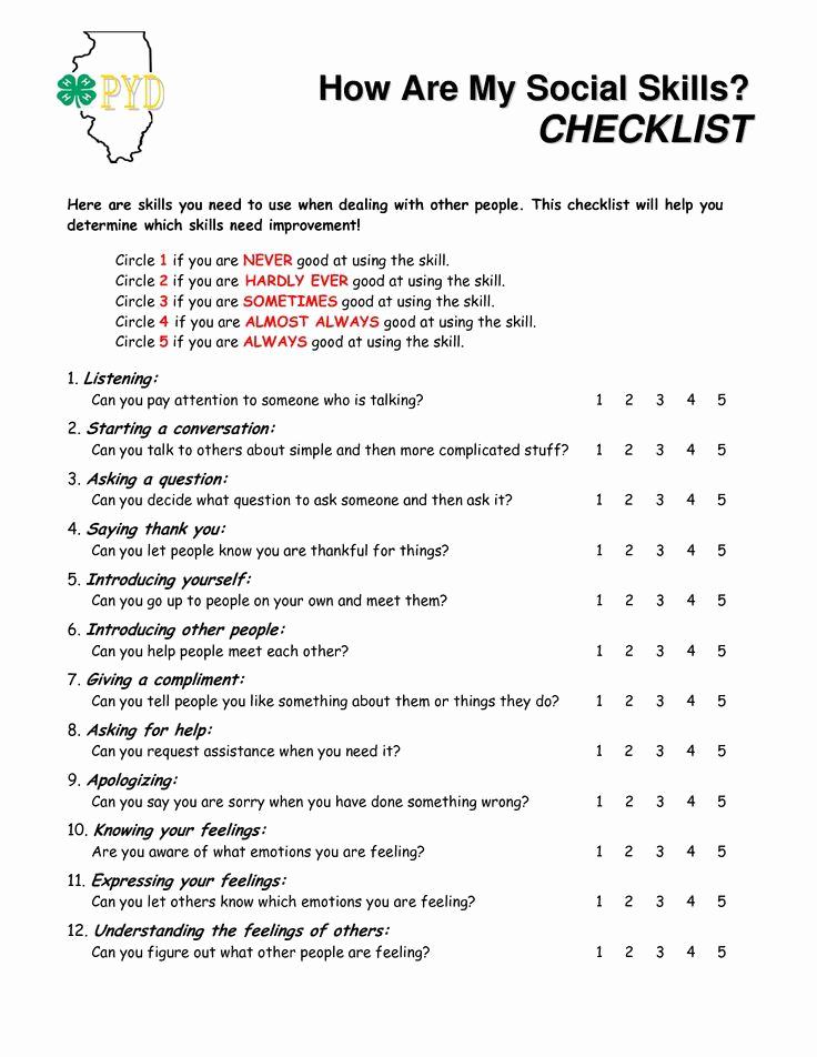 Social Skills Activities Worksheets Beautiful How are My social Skills Checklist A Self Rating