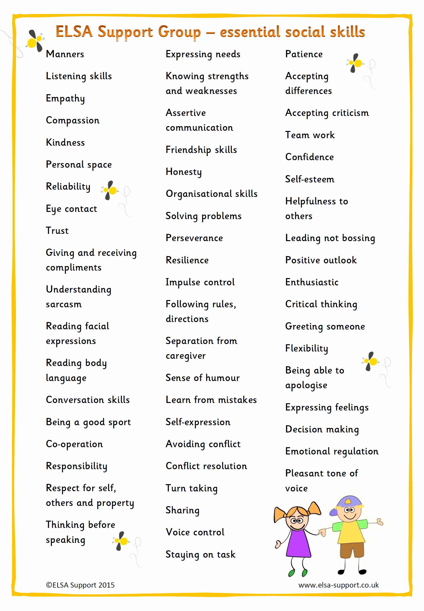 Social Skills Activities Worksheets Lovely Essential social Skills Elsa Support