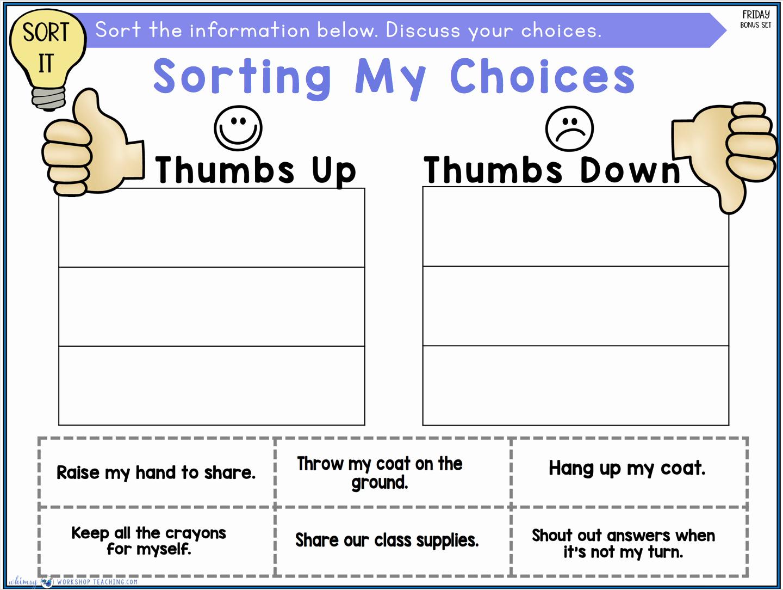 Social Skills Activities Worksheets Lovely social Skills Lesson sorting Good Choices Whimsy