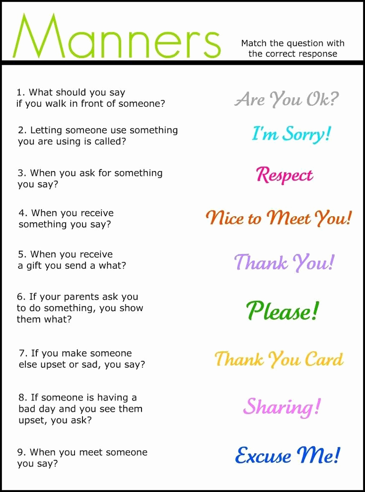 Social Skills Activities Worksheets Luxury Free Printable social Skills Worksheets Manners Match It