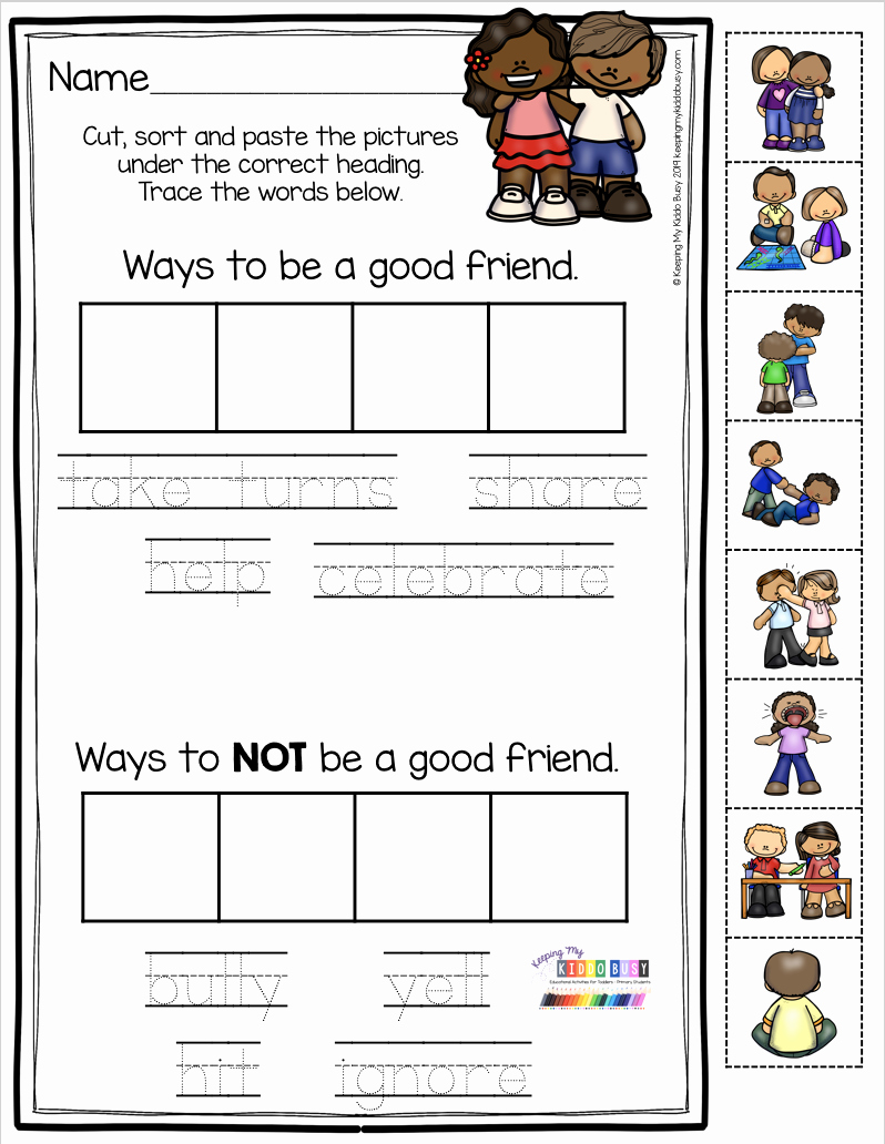 Social Skills Worksheets for Kindergarten Fresh All About Friendship Free Activities In 2020