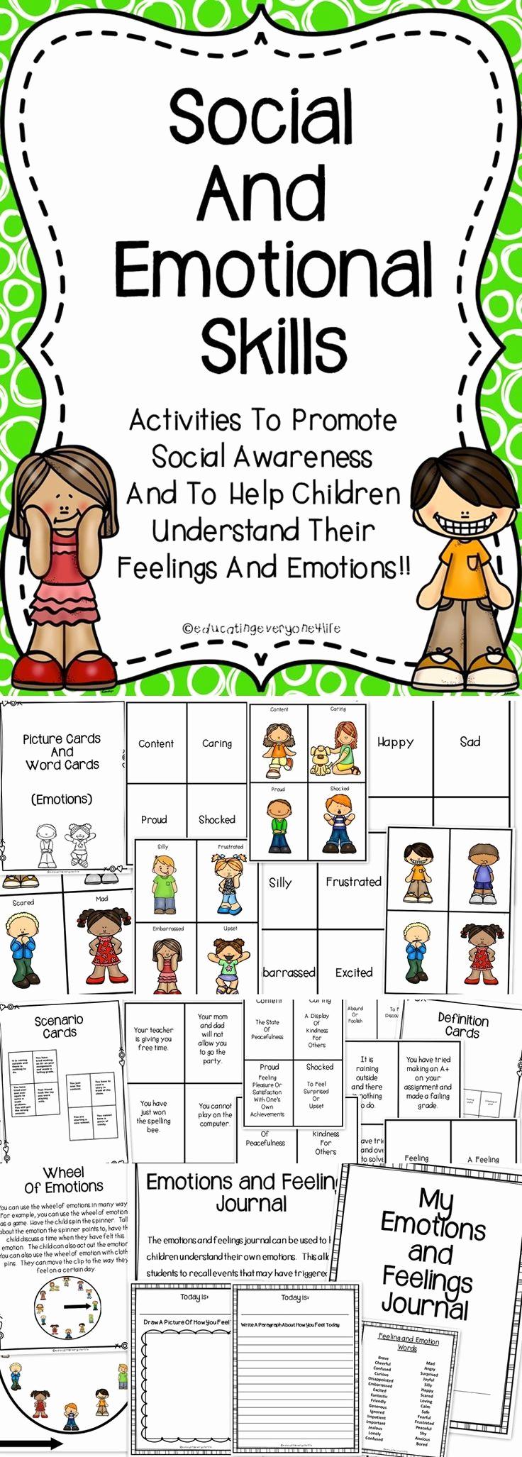 Social Skills Worksheets for Kindergarten Lovely 67 Best Teaching Emotions Images On Pinterest