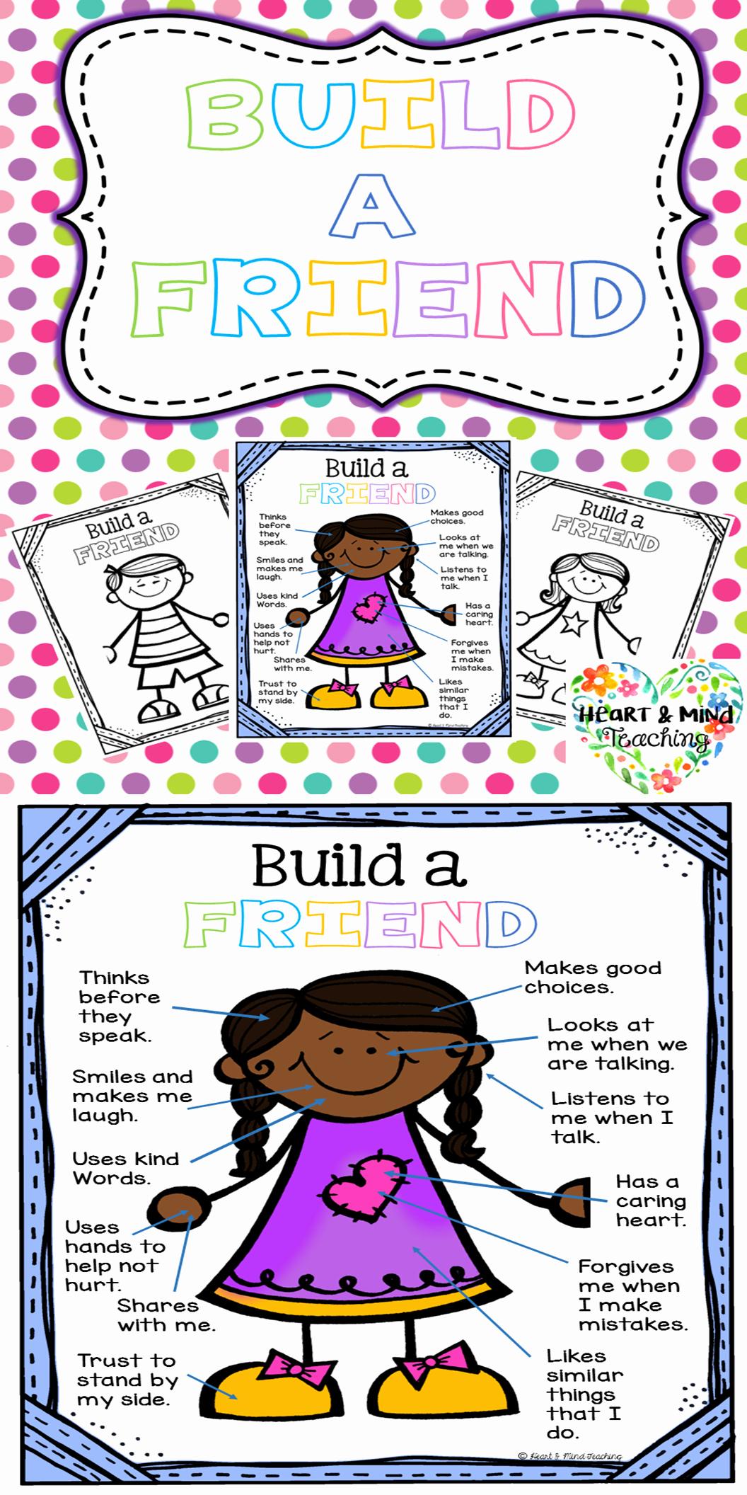 Social Skills Worksheets for Kindergarten Lovely Build A Friend Activity Make Friends Learn Friendship